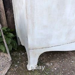 Gustavian Country Style Duck Egg Blue Bow Fronted Vintage Sideboard / Cabinet