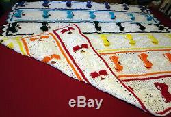 HANDMADE Crochet AFGHAN Knit THROW vtg RAINBOW Colors BOW TIE lgbt BLANKET Quilt