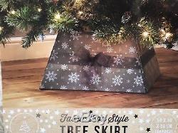 HANDMADE Fabric Box Style Large Grey CHRISTMAS TREE Skirt with Bow Snow Flakes