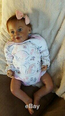 HAPPY REALISTIC REAL LIFE REBORN BABY GIRL DOLL magnetic bow & dummy