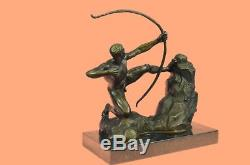 Hand Made Nude Apollo Archer Bow Arrow Bronze Marble Statue God Figure Art