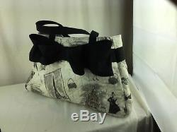 Hand Made OOAK Fly me to Paris hand quilted double bow bag