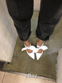 Handamde Women Shoes Leather Satin Coco Mule Bow Tie Slingback Sandals Slide Mi