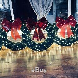 Handmade 32christmas Wreath With Bow And Lights. Stunning In/Outdoor Decoration