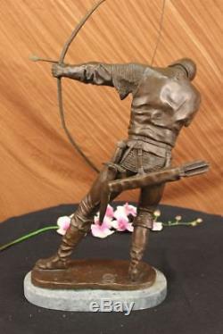 Handmade Bronze Sculpture Soldier Warrior Bow Arrow Hot Cast Green Marble Deal