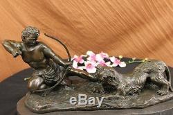 Handmade Bronze Statue man bow Hercules the Archer Greek Myth Deco Figurine