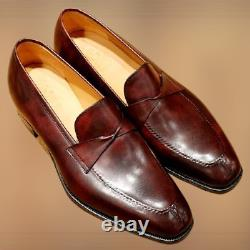 Handmade Brown Leather dress shoes, Men brown moccasins, Men classic shoes