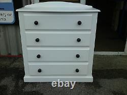 Handmade Classique Bow Fronted 3 Drawer Bedside White No Flat Packs
