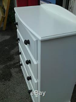 Handmade Classique Bow Fronted 4 Drawer Narrow Chest White No Flat Packs