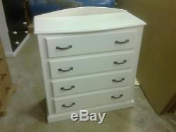 Handmade Classique Bow Fronted 4 White Drawer Chest Metal Handles No Flat Packs