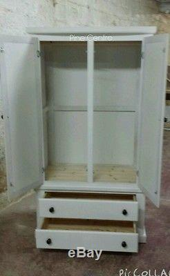 Handmade Classique Bow Fronted White 2 Drawer Wardrobe (no Flat-packs)