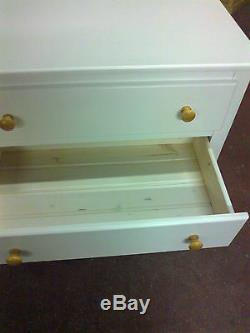 Handmade Classique Bow Fronted White Gents 2 Drawer Metal Handles No Flat Packs