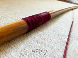 Handmade English Longbow 45lbs at 28 Felt Grip Traditional Metal Nocks