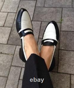 Handmade Formal Shoes Two tone Shoes, Men Penny loafer shoes Men Spectator shoes