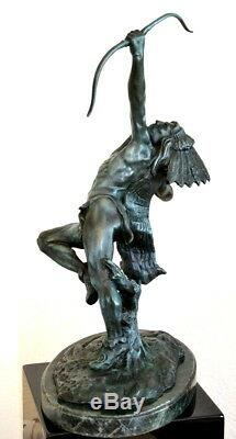 Handmade Indian with Bow in Bronze on Marble Base Sign Carl Kauba