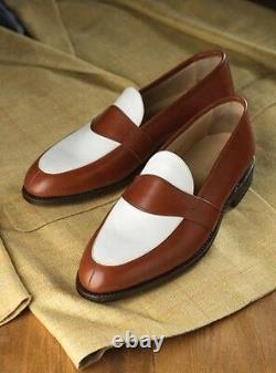 Handmade Men Brown and white leather shoes, Men slip ons, Men Spectator shoes