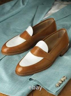 Handmade Men Brown and white leather shoes, Men slip ons Men dress leather shoes