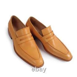 Handmade Men Formal Shoes, Men Tan color leather moccasins shoes loafer