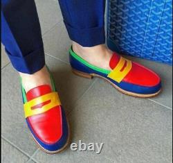 Handmade Men Multi Color Leather Dress Shoes, Men Slip on Loafer Shoes
