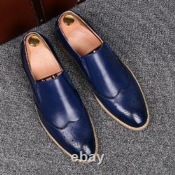 Handmade Men Wing tip Blue Leather Moccasins, Men Blue Loafer Slip Ons Shoes