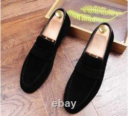 Handmade Men black color Suede moccasins shoes slip ons, Men casual shoes