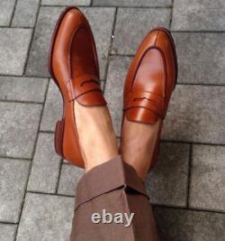 Handmade Men brown Leather Moccasins dress Shoes, Loafer, Men brown Formal Shoes