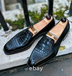 Handmade Men's Black Round Toe Slip On Crocodile Texture Leather Dress Shoes