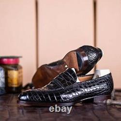Handmade Men's Black Round Toe Slip On Crocodile Texture Leather Office Shoes
