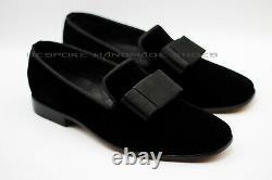 Handmade Men's Black Velvet Slip On Wedding Bow Tuxedo Formal Shoes