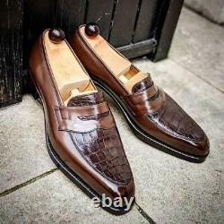 Handmade Men's Brown Slip On Crocodile Texture Leather Dress Shoes moccasins