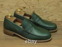 Handmade Men's Green Round Toe Loafer Party Shoes, Real Leather Shoes
