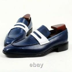Handmade Men two tone Leather dress shoes, Men Navy blue loafer moccasins shoes