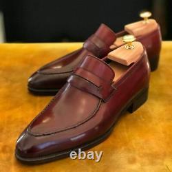 Handmade Mens Burgundy color Leather dress shoes moccasins Loafer