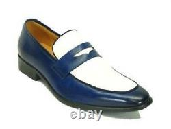 Handmade Mens Shoes, Mens two tone Shoes, Men blue and white leather moccasins
