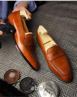 Handmade Mens Tan color Leather dress shoes, Men leather moccasins Loafer