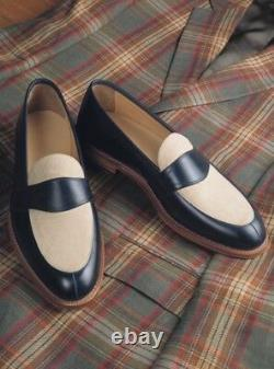 Handmade Two Tone Dress Shoes, Men Spectator Shoes Men Formal Leather Shoes