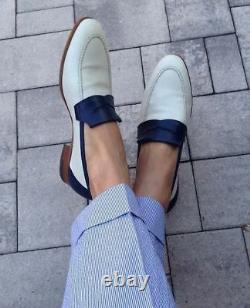 Handmade Two tone Formal Shoes, Men white and blue leather moccasins loafer