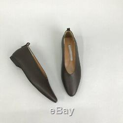 Handmade Women Almond Toe Leather Flat Shoes Ballet Bottega Slip On Soft
