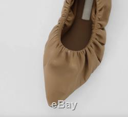 Handmade Women Lamb Skin Babette Shoes Sheep Leather Point Toe Gathered In Beig
