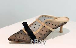Handmade Women Mesh Heel Bow Pumps Marguerit Knot Ballet Mid Heel Malone Sling
