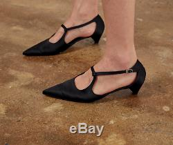 Handmade Women Satin Point Mid Pumps Salome Sandals Shoes T Strap Bourgeoise Ro