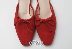 Handmade Women Suede Leather Tie Ballet Ballerina Mule Bow Slide Knot Monolo Sa