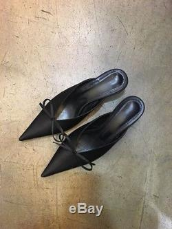 Handmade Womens Mule Satin Point Toe Bow Tie Balen Slash Sli Kitten Heel Knife