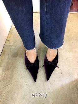 Handmade Womens Velvet Knife Heel Bow Slide Slipper Leather Point Toe Mule