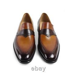 Handmade men two tone Leather formal shoes moccasins, Men dress shoes Mens shoes