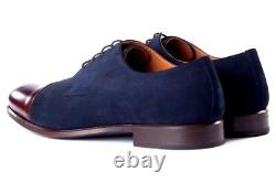 Handmade two tone Formal Shoes, Men Maroon And Navy Blue and Maroon Dress Shoes