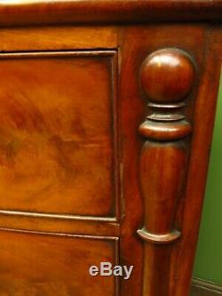 Handsome Antique Mahogany Bow Chest of Drawers with oak lined drawers