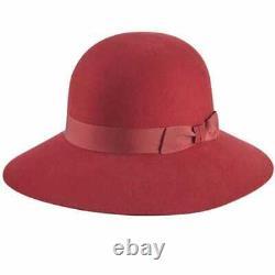Helen Kaminski Letta Carmine/Grape Red Merino Felt Wide Brim Cloche Hat NWT M