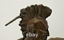 Huge Bronze Sculpture/American Red Indian Warrior With Bow Statue/72cm High