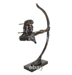 Indian With Bow Iroquois Indian Bronze Warrior Remington Statue Sculpture
